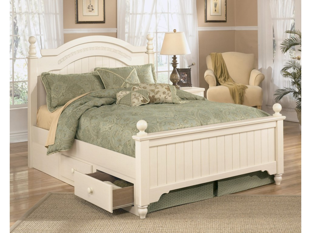 Signature Design by Ashley Cottage RetreatFull Poster Bed with Underbed Storage