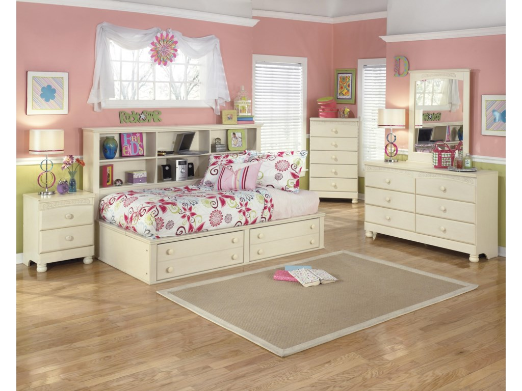 Signature Design by Ashley Cottage RetreatTwin Bookcase Bed with Footboard Storage