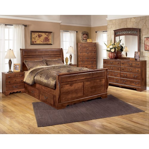 Signature Design by Ashley Pine Ridge 4 Piece Queen with Storage Bedroom Group