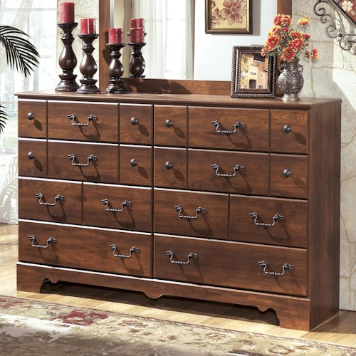 dresser ashley furniture dressers bedroom drawer timberline signature b258 brown warm wood chest apron double shaped lulu bed storage beds