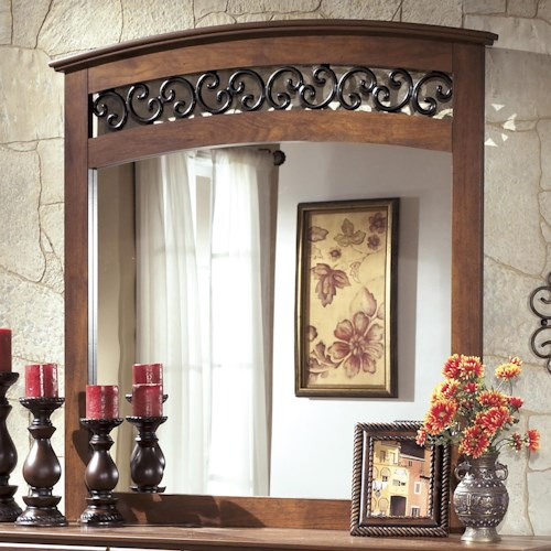 Signature Design by Ashley Timberline Arched Mirror with Fretwork