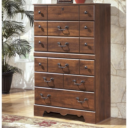 Signature Design by Ashley Timberline 5 Drawer Chest with Shaped Apron