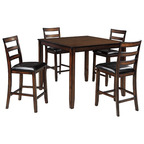 Signature Design by Ashley Furniture Coviar Burnished Brown 5-Piece Dining Room Counter Table Set
