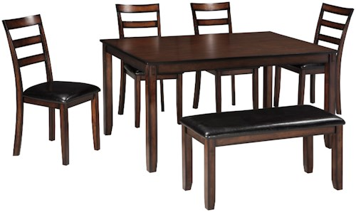 Signature Design by Ashley Coviar Burnished Brown 6-Piece Dining Table Set with Bench