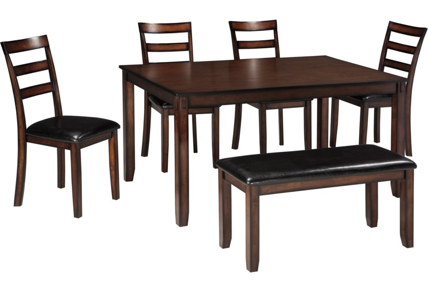 Coviar Burnished Brown 6 Piece Dining Table Set With Bench By Signature Design Ashley At Furniture And Liancemart