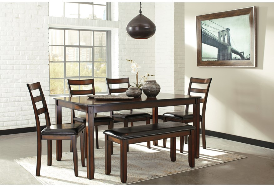 Coviar Burnished Brown 6-Piece Dining Table Set with Bench by Signature  Design by Ashley at Furniture and ApplianceMart