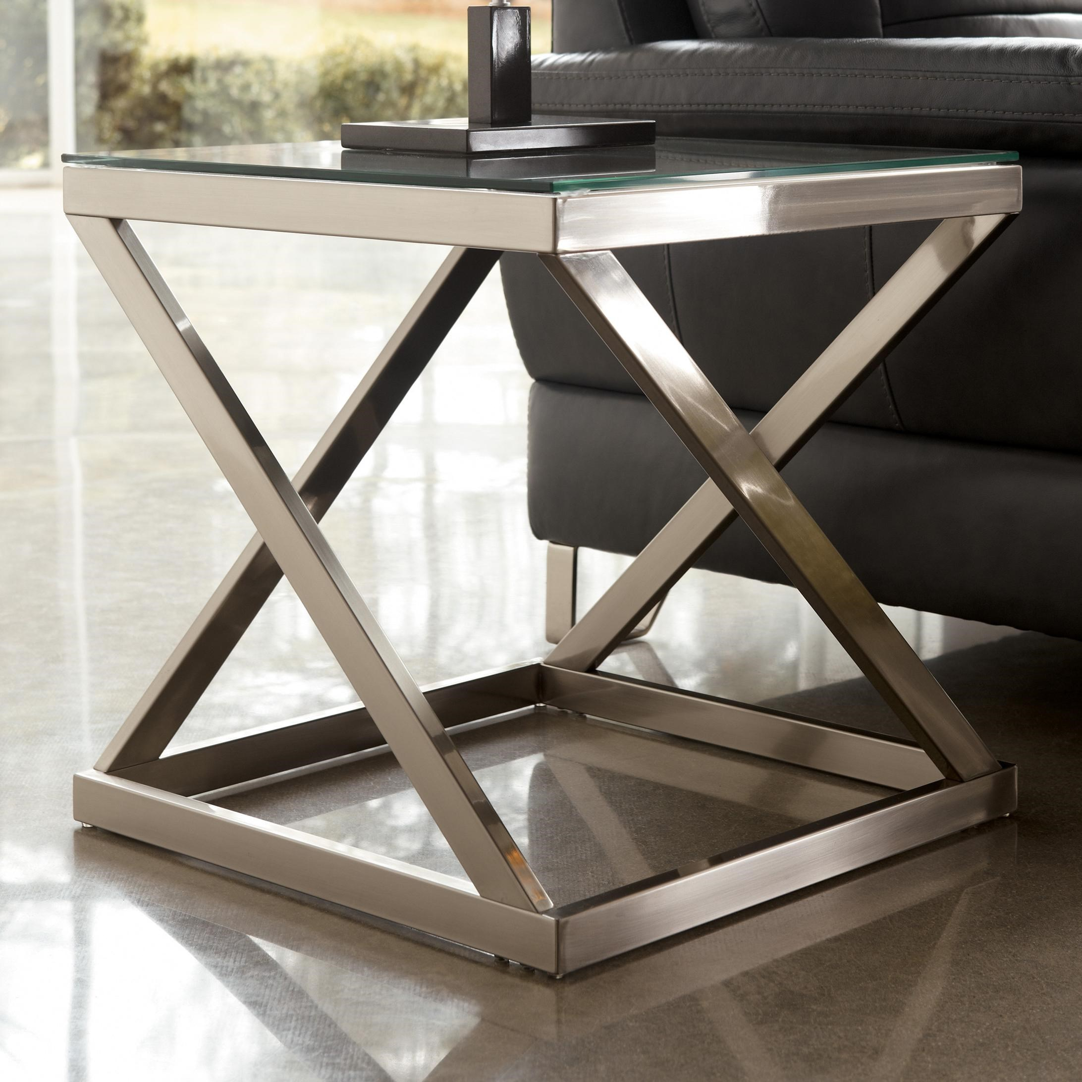 Merveilleux Coylin Brushed Metal Square End Table With Clear Tempered Glass Top By  Signature Design By Ashley At Rotmans