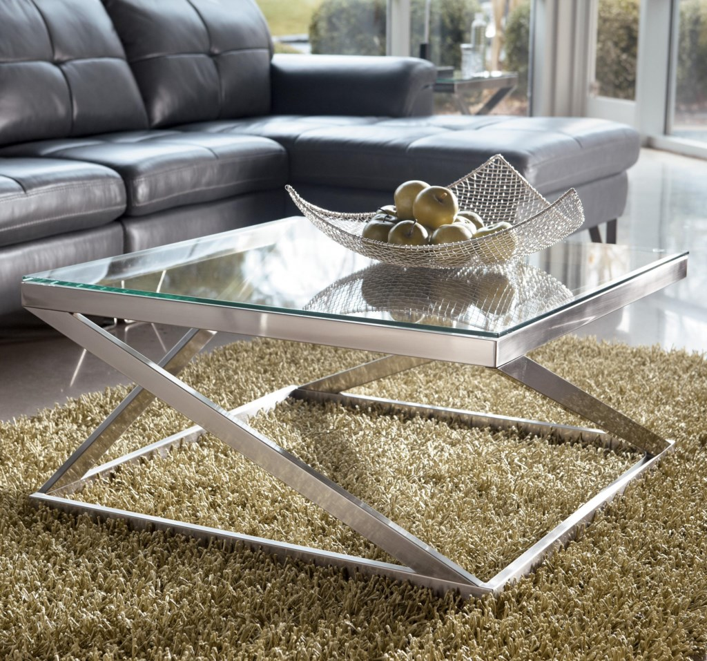 Coylin Brushed Metal Square Cocktail Table With Clear Tempered Glass