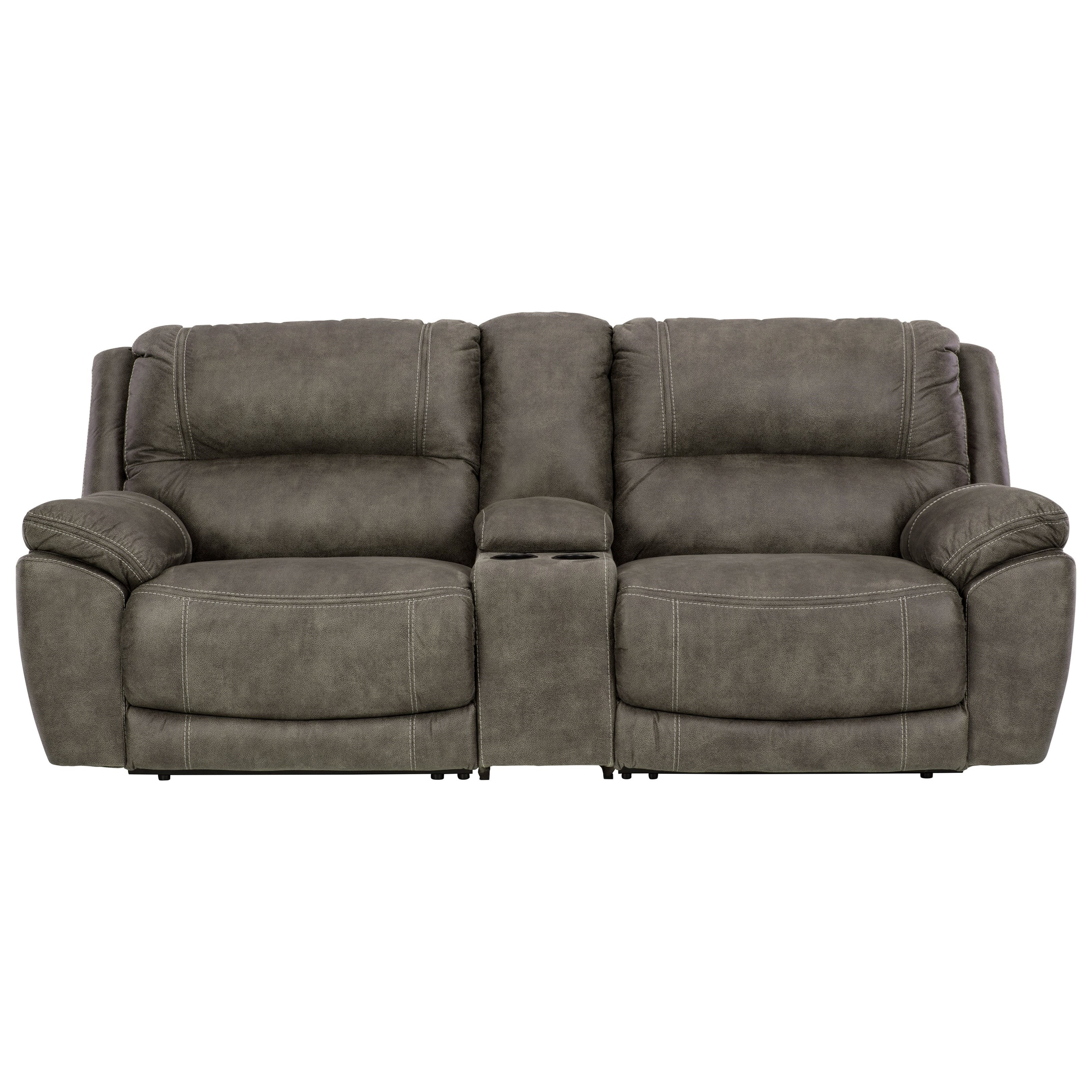 Faux Leather Power Reclining Loveseat w/ Console and Power Headrests