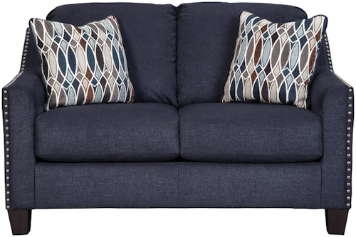 Benchcraft Creeal Heights Loveseat with Nailhead Studs