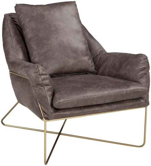 Signature Design by Ashley Crosshaven Accent Chair with Gold Finished Metal Frame