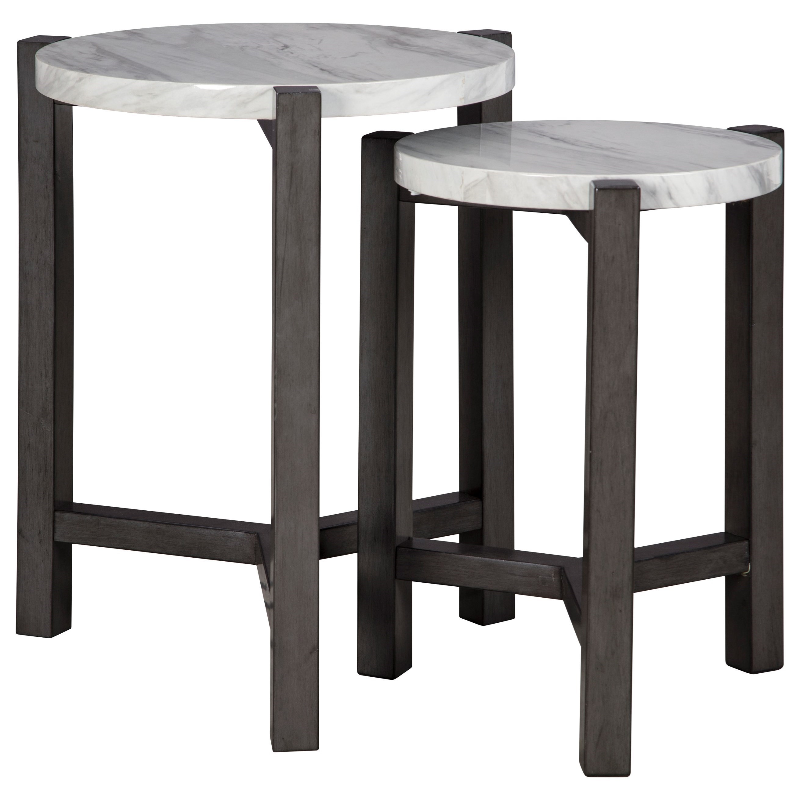 2-Piece Nesting Accent Table Set with White Marble-Look Tops