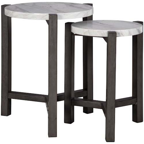 Signature Design by Ashley Crossport 2-Piece Nesting Accent Table Set with White Marble-Look Tops