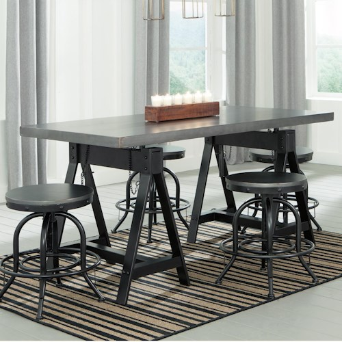 Signature Design by Ashley Minnona 5 Piece Adjustable Dining Set