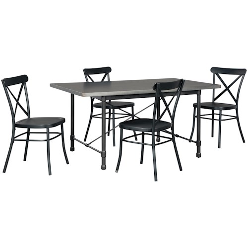 Signature Design by Ashley Minnona 5 Piece Rectangular Dining Set w/ Black Chairs