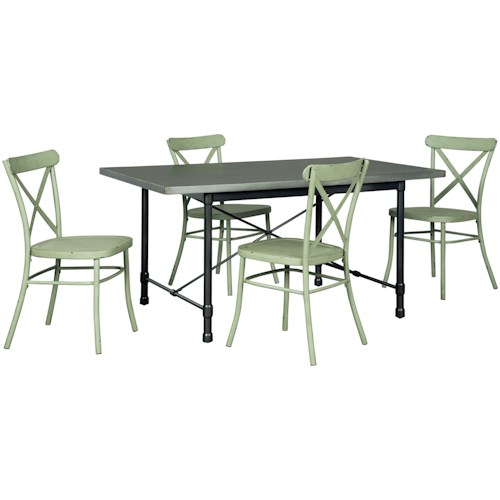 Signature Design by Ashley Minnona 5 Piece Rectangular Dining Set w/ Light Green Chairs