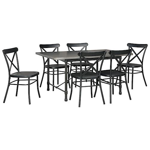 Signature Design by Ashley Minnona 7 Piece Rectangular Dining Set w/ Black Chairs