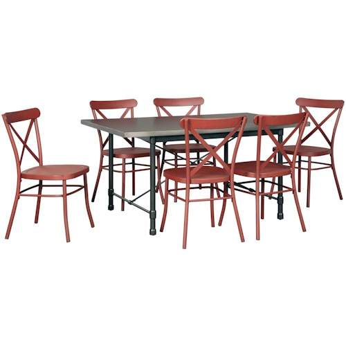 Signature Design by Ashley Minnona 7 Piece Rectangular Dining Set w/ Red Chairs
