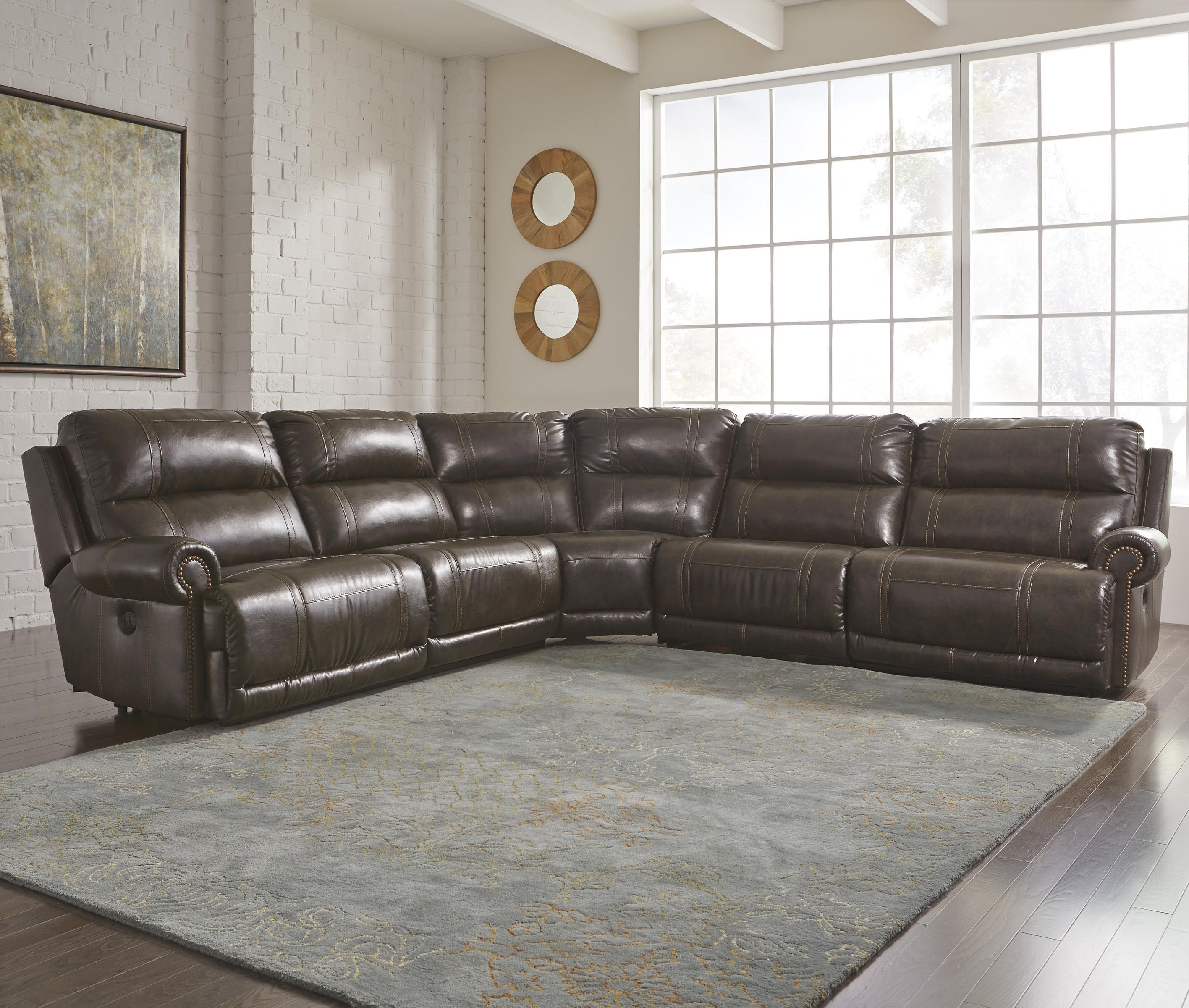 Signature Design By Ashley Dak DuraBlend® 5 Piece Reclining Sectional With  Armless Recliner