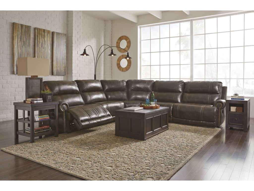 Signature Design by Ashley Dak DuraBlend®5-Piece Reclining Sectional