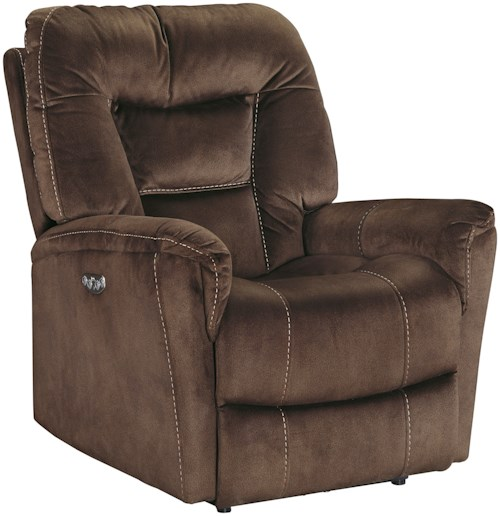 Signature Design by Ashley Dakos Power Recliner with Adjustable Headrest in Suede-Like Fabric