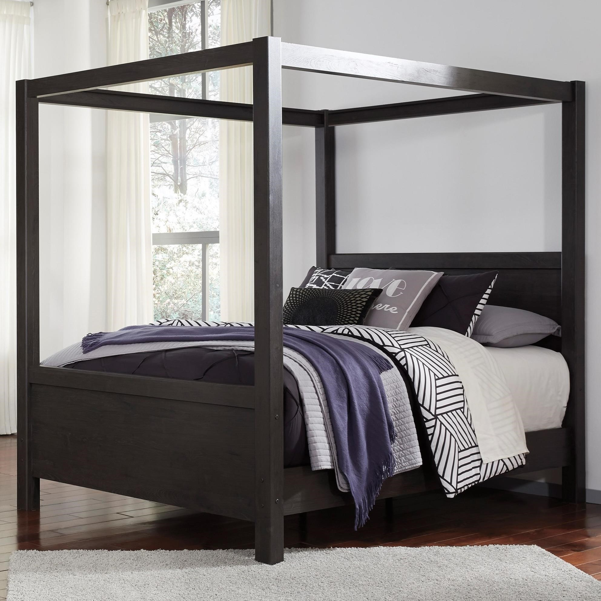 Signature Design by Ashley Daltori Contemporary Queen Canopy Bed in Dark Charcoal Finish | Royal Furniture | Canopy Beds  sc 1 st  Royal Furniture & Signature Design by Ashley Daltori Contemporary Queen Canopy Bed ...