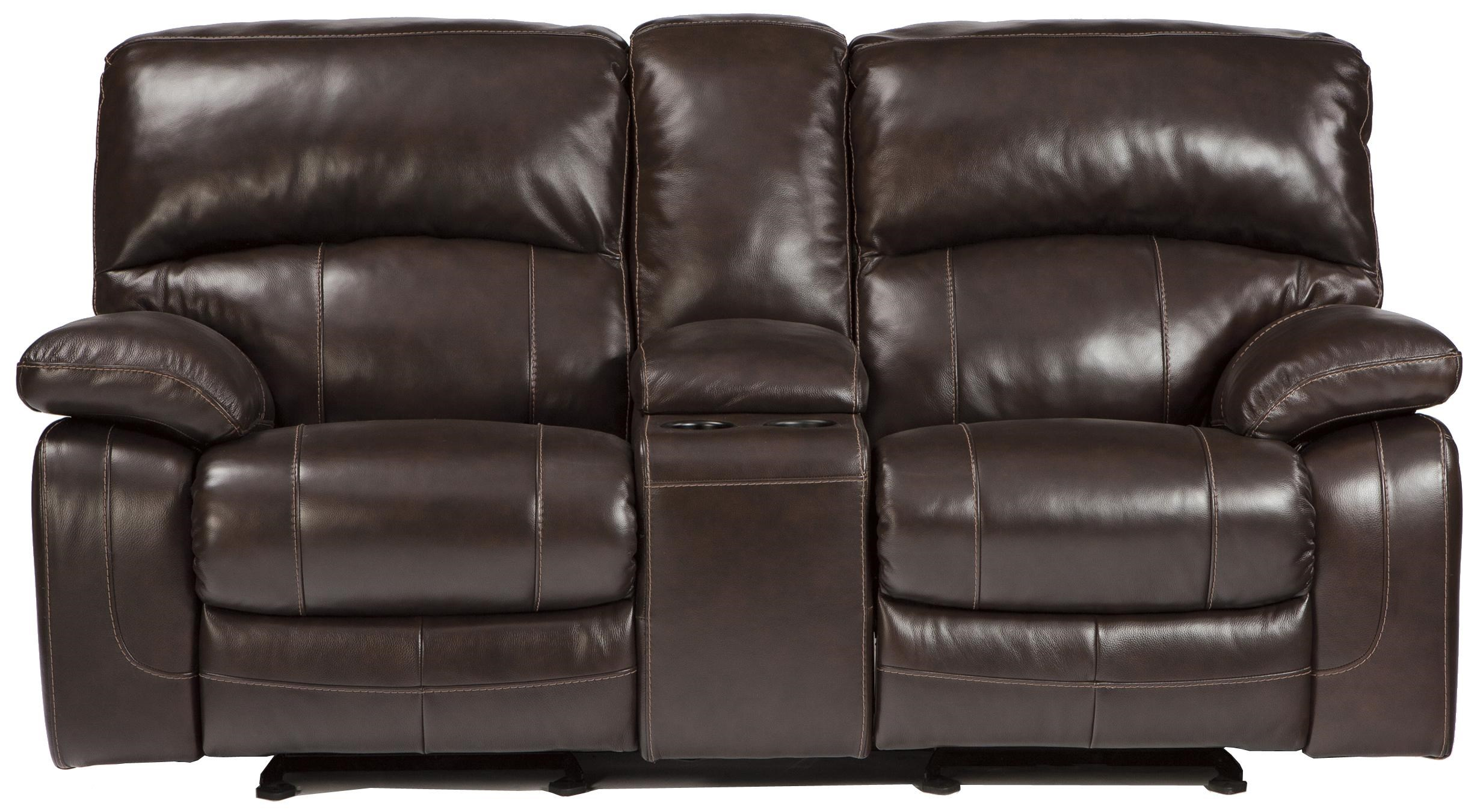 Signature Design by Ashley Damacio - Dark Brown Leather Match Glider Recliner Loveseat w/ Console - Royal Furniture - Reclining Love Seats  sc 1 st  Royal Furniture & Signature Design by Ashley Damacio - Dark Brown Leather Match ... islam-shia.org