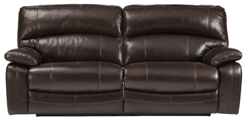 Signature Design By Ashley Damacio Dark Brown Leather Match 2  ~ Brown Leather Reclining Sofa