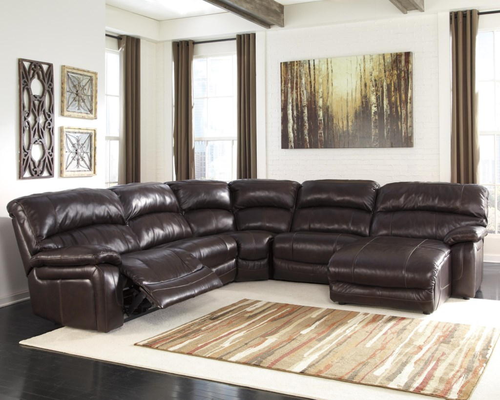 Signature Design By Ashley Damacio Dark Brown Reclining  ~ Reclining Sectional Sofa With Chaise Lounge