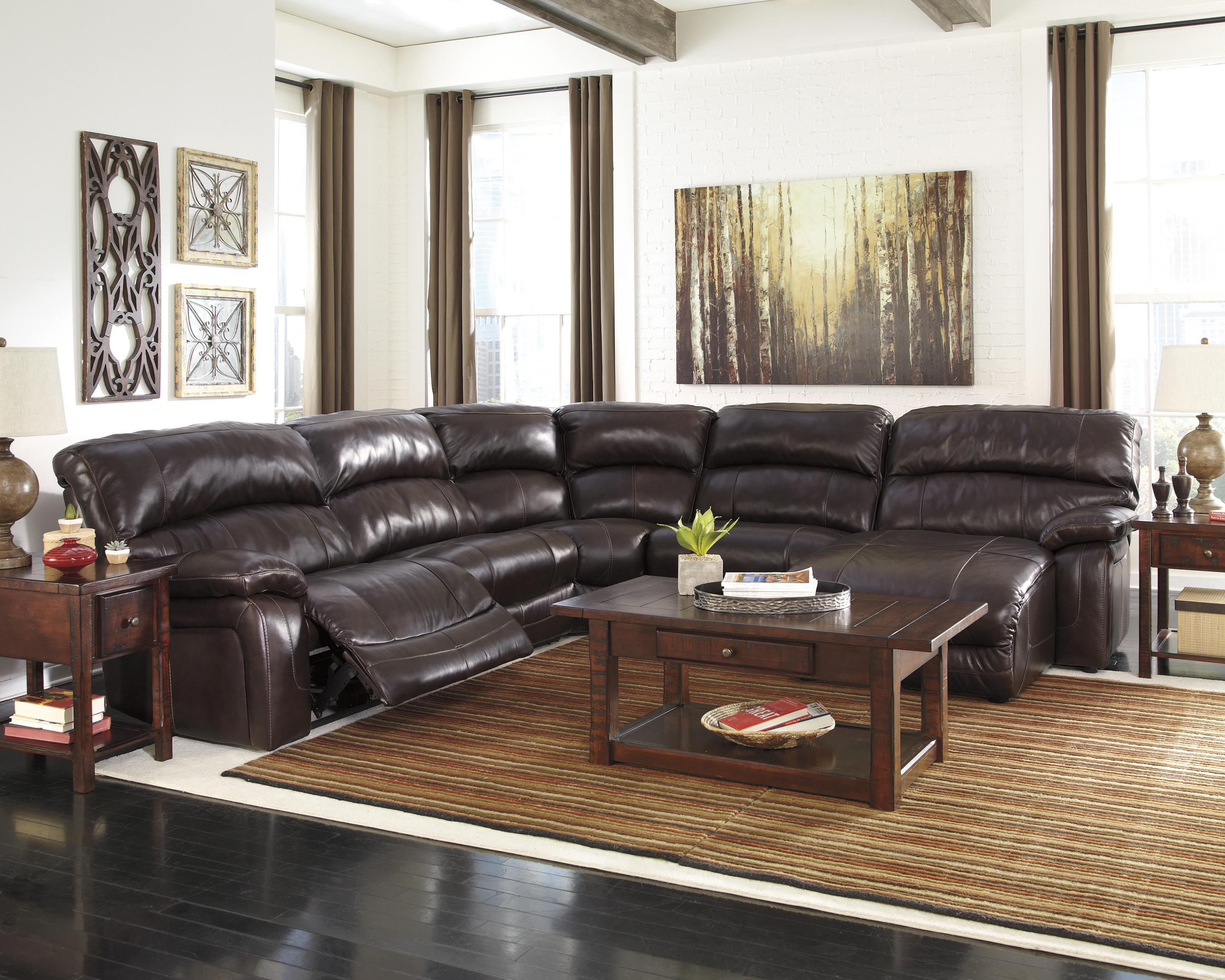 Signature Design by Ashley Damacio - Dark Brown Reclining Sectional with Right Press Back Chaise : ashley reclining sectional - Sectionals, Sofas & Couches
