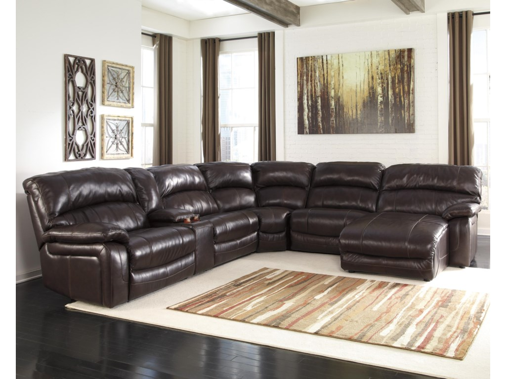 Signature Design by Ashley Damacio - Dark BrownRec Sectional w/ Console & Press Back Chaise