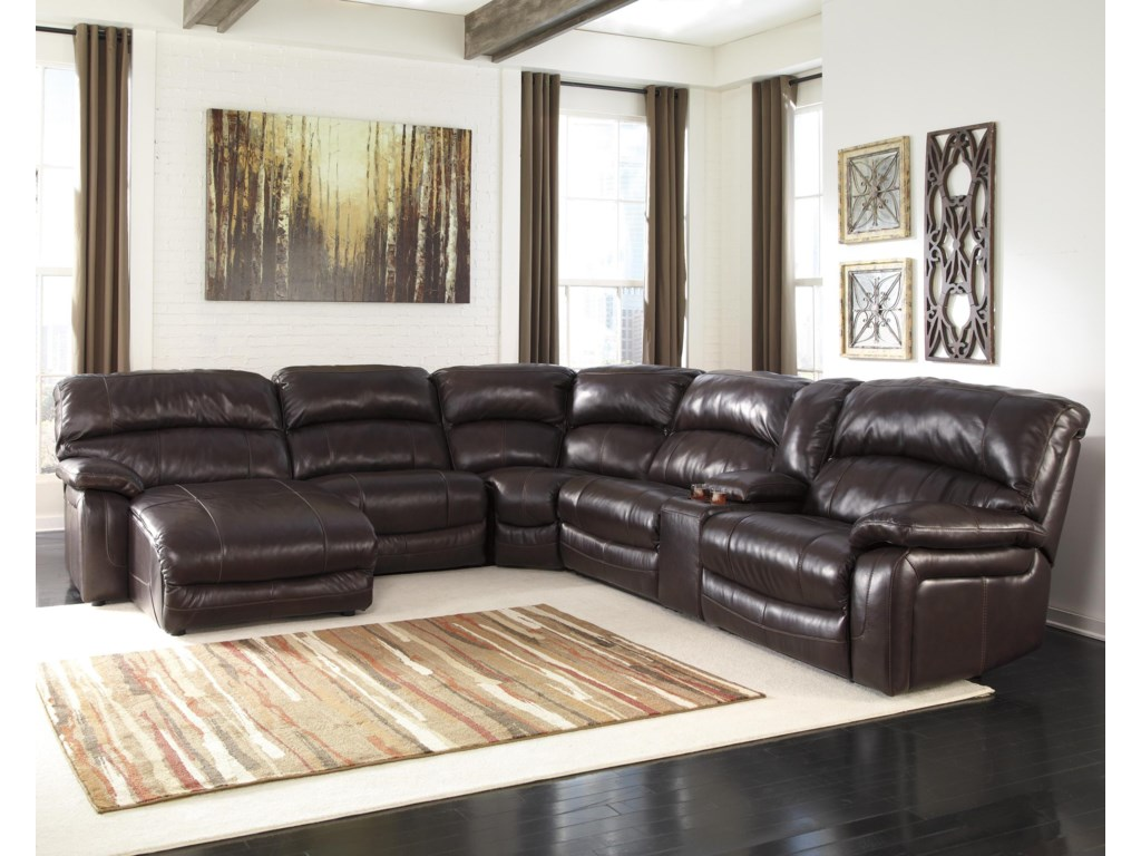 signature design by ashley denali reclining sectional w console
