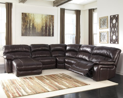 Signature Design by Ashley Damacio - Dark Brown Reclining Sectional with Left Press Back Chaise