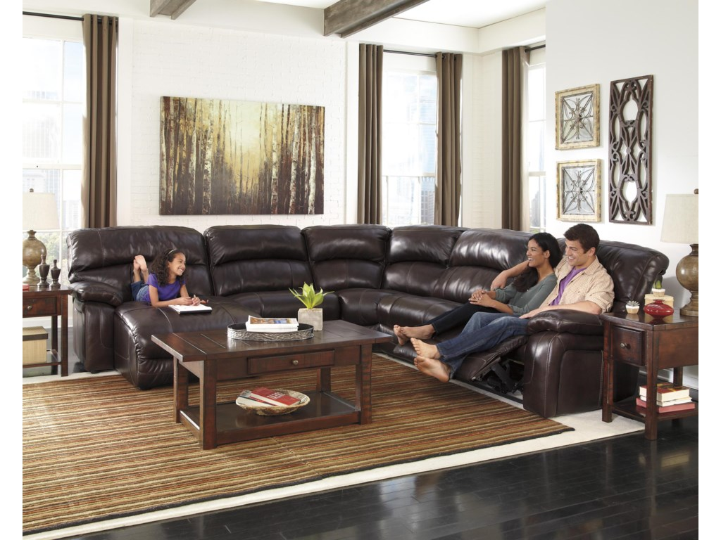 Signature Design by Ashley Damacio - Dark BrownReclining Sectional with Press Back Chaise