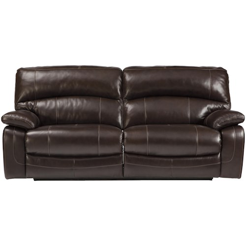 Signature Design By Ashley Damacio Dark Brown Leather Match 2 Seat Reclining Sofa