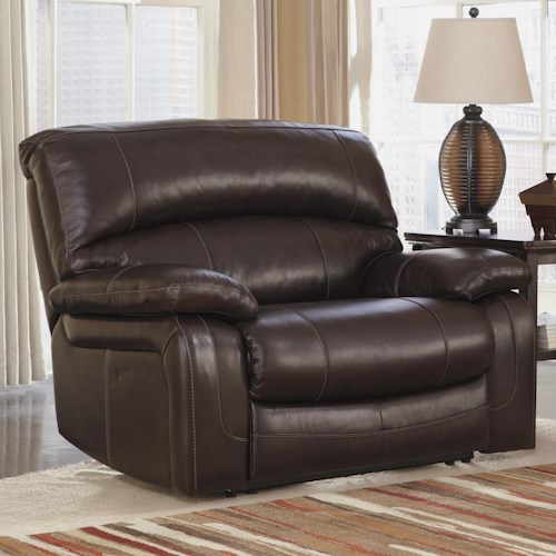 Signature Design by Ashley Damacio - Dark Brown Leather Match Zero Wall Power Wide Recliner