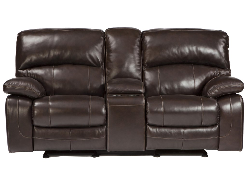 Signature Design by Ashley Damacio - Dark BrownGlider Recliner Power Loveseat w/ Console