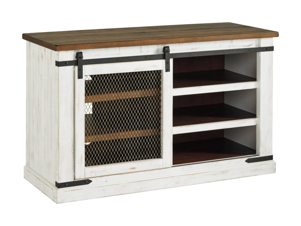 Signature Design By Ashley Wystfield 50 Rustic Medium Tv Stand With Sliding Barn Door Royal Furniture Tv Stands