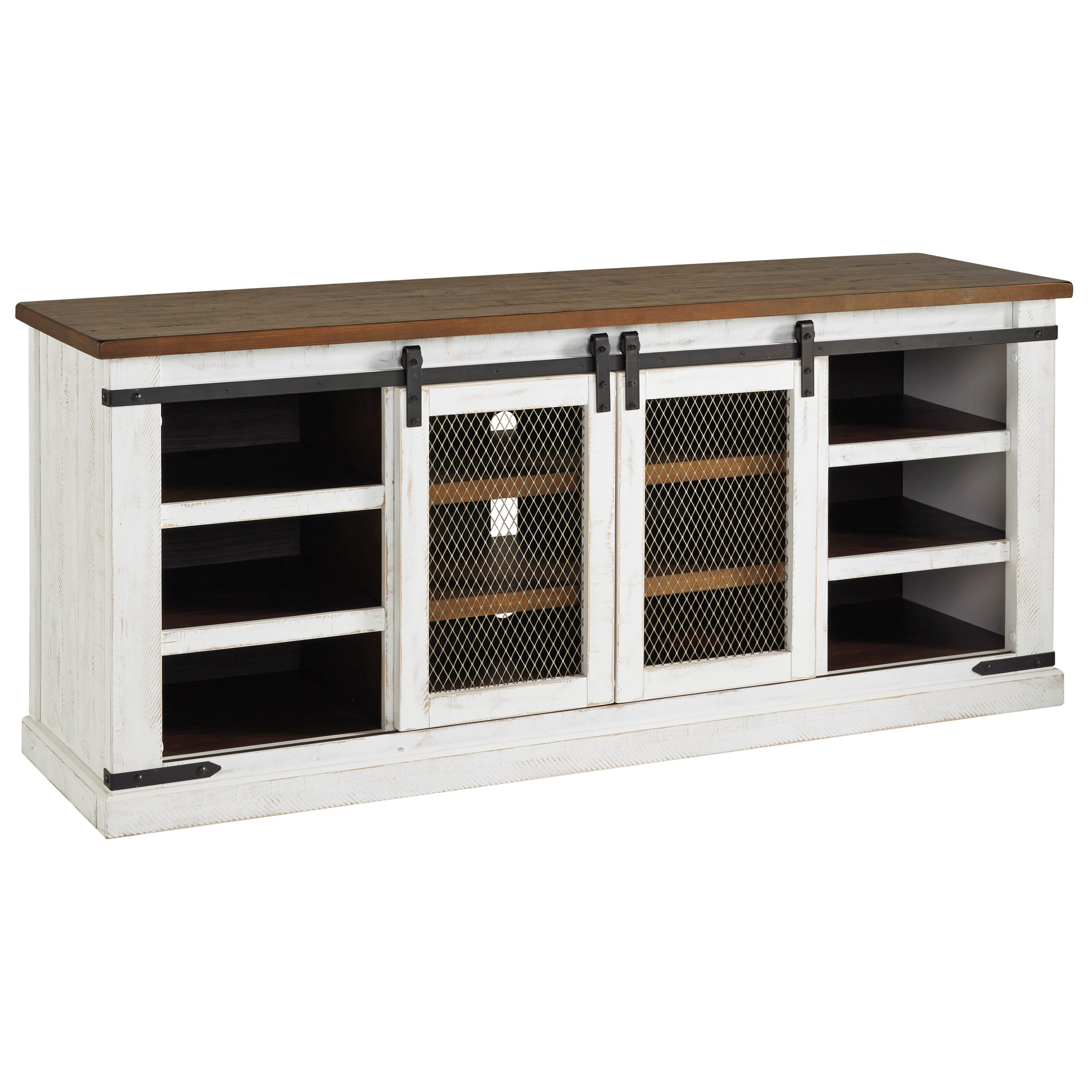 """70"""" Rustic Extra Large TV Stand with Sliding Barn Doors"""