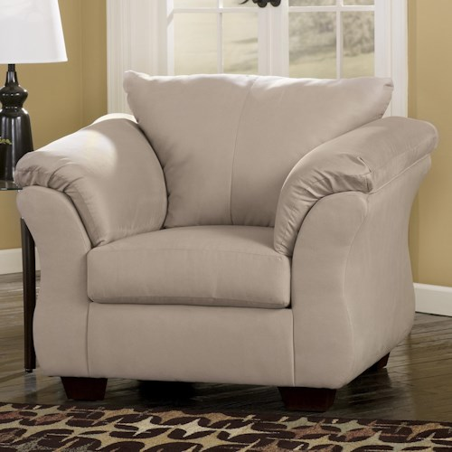 Signature Design by Ashley Darcy - Stone Contemporary Upholstered Chair with Sweeping Pillow Arms