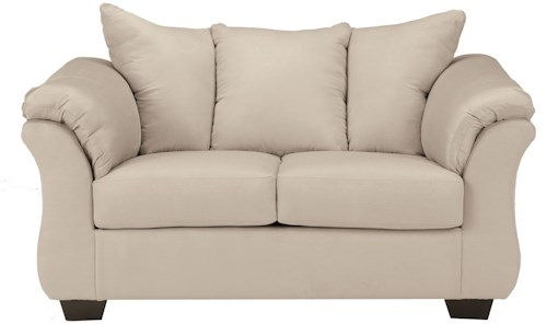 Signature Design by Ashley Darcy - Stone Contemporary Stationary Loveseat with Flared Back Pillows
