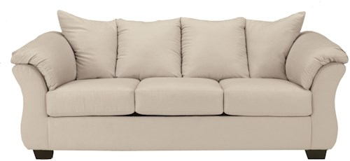 Signature Design by Ashley Darcy - Stone Contemporary Stationary Sofa with Flared Back Pillows