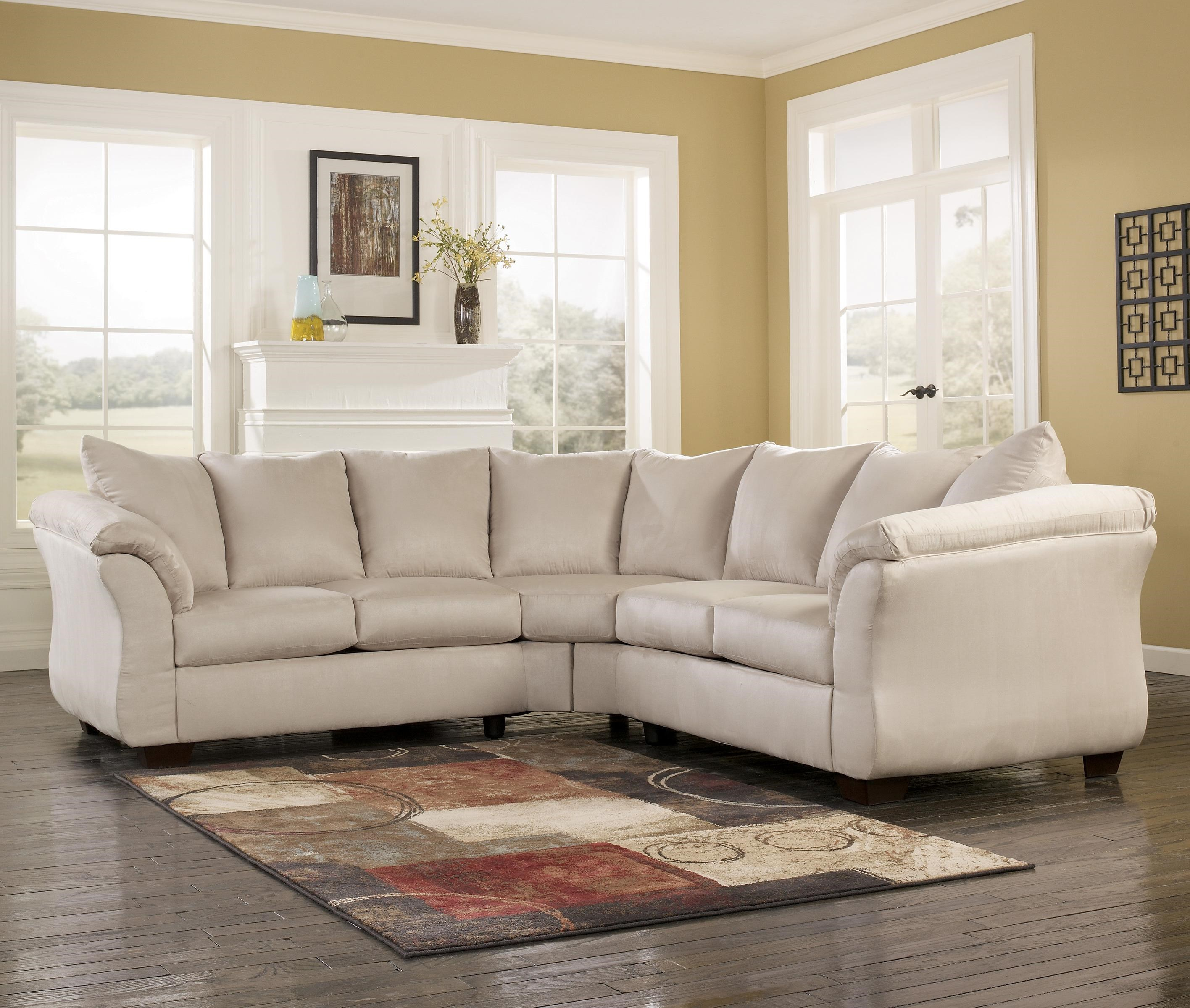 Signature Design By Ashley Darcy   Stone Contemporary Sectional Sofa With  Sweeping Pillow Arms