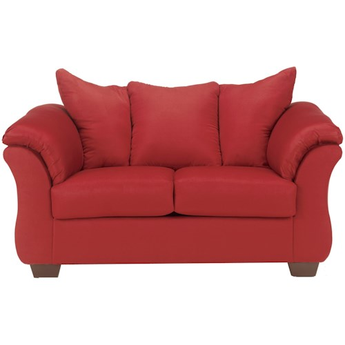 Signature Design by Ashley Darcy - Salsa Contemporary Stationary Loveseat with Flared Back Pillows
