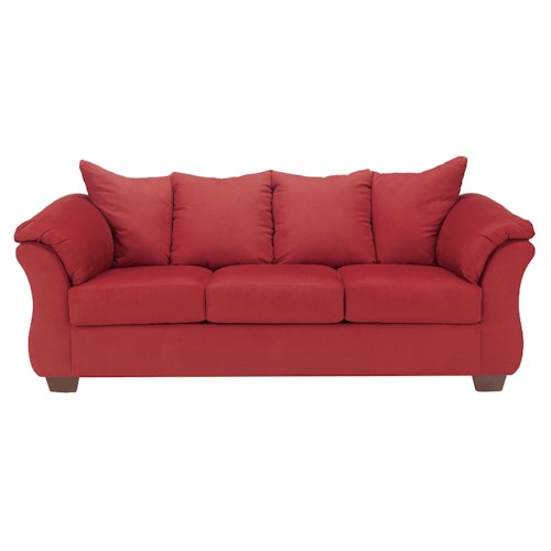 Signature Design by Ashley Darcy - Salsa Contemporary Stationary Sofa with Flared Back Pillows