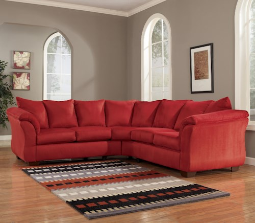 Signature Design By Ashley Darcy Salsa Contemporary Sectional Sofa With Sweeping Pillow Arms