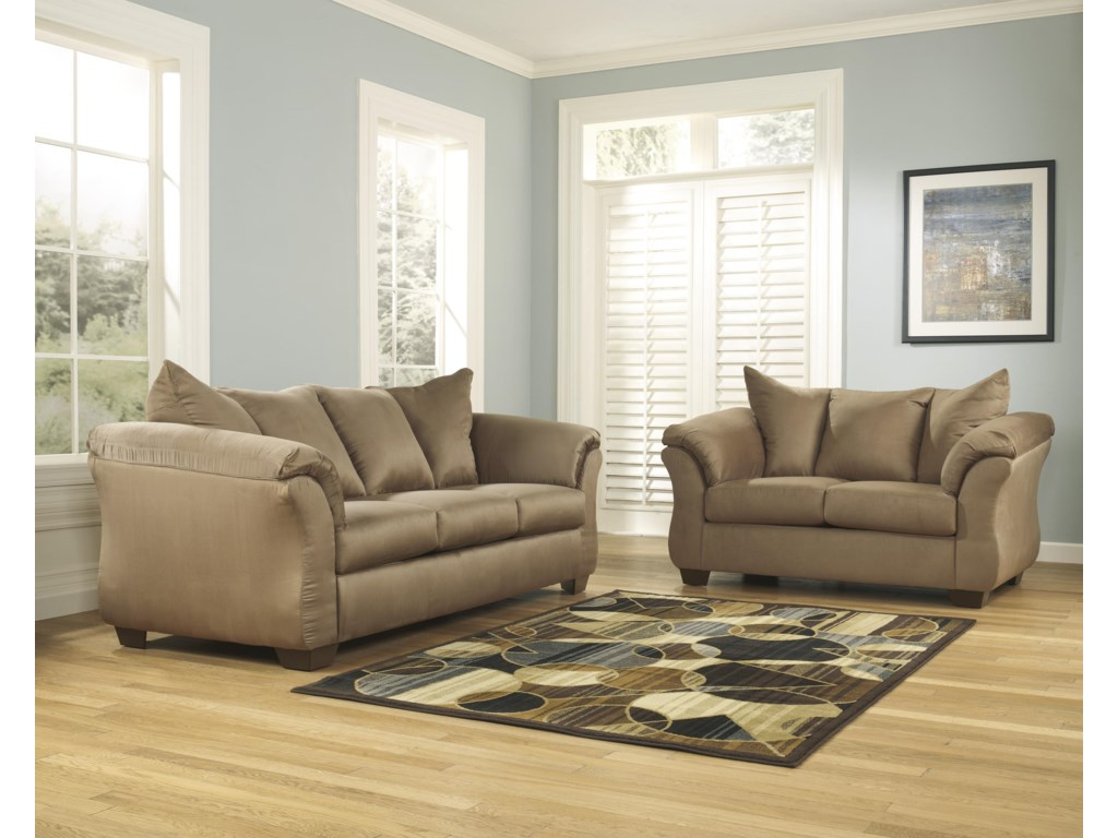 Signature Design By Ashley Darcy Mocha Stationary Living Room Group Household Furniture Groups
