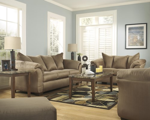 Signature Design by Ashley Darcy - Mocha Stationary Living Room Group