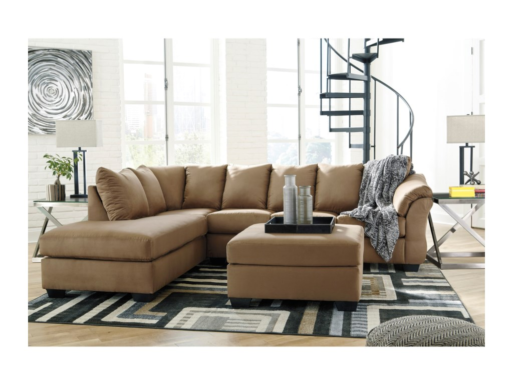 Signature Design by Ashley Darcy - MochaSectional Sleeper Sofa with Chaise