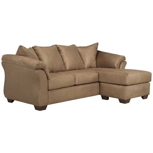 Signature design by ashley darcy mocha contemporary sofa for Ashley furniture sectional sofas chaise